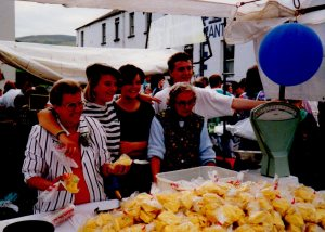 With my paternal grandmother (Eleanor Devlin), her sister (Katie Devlin), my sister (Jo Loy) and Brendan Reid at the Lamas Fair in Ballycastle in August 1989.