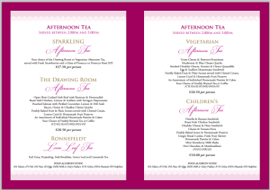 The menu for Afternoon Tea at Adare Manor