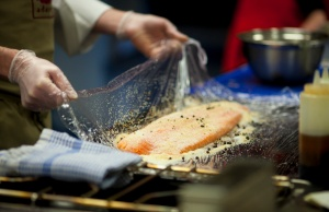 Preparing the salmon. Photograph courtesy of Tommy Hannon, Molten Sky Media